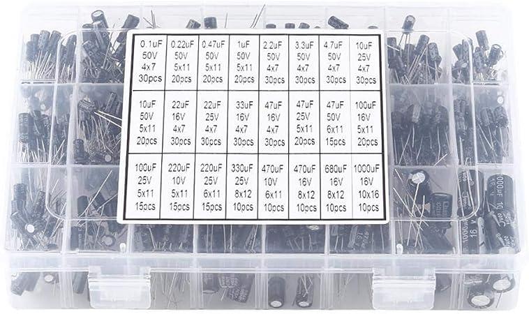500pcs Condensateurs /Électrolytiques en Aluminium/24 Valeurs 0.1uF ~ 1000uF Condensateurs /Électrolytiques dAssortiment 10V ~ 50V