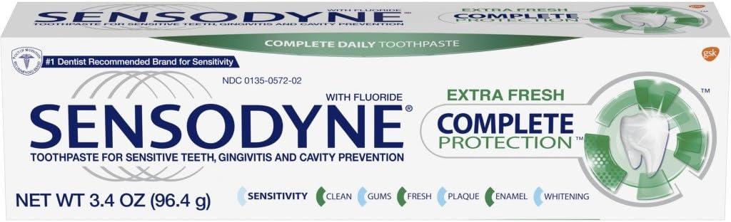 Sensodyne Complete Protection Sensitive Toothpaste For Gingivitis, Sensitive Teeth Treatment, Extra Fresh - 3.4 Ounces : Beauty