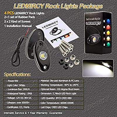 LEDMIRCY LED Rock Lights White Kit 4PCS for JEEP Off Road Truck Auto Car Boat ATV SUV Waterproof High Power Neon Trail Lights Lights Interior Exterior Shockproof(4PCS White): Automotive
