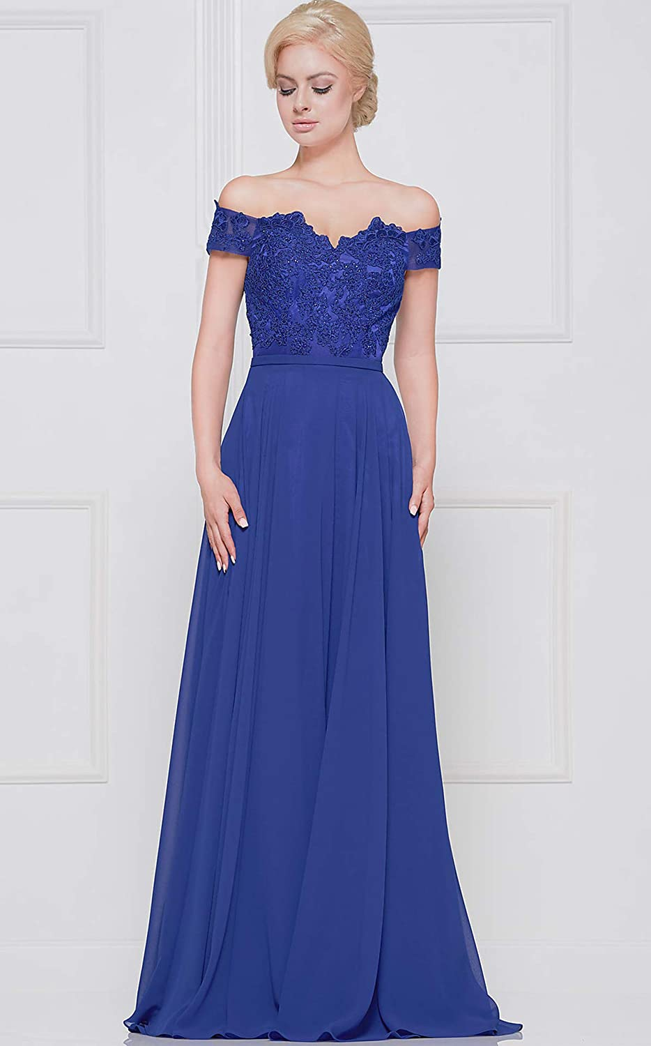 Womens Off The Shoulder Lace Bodice Prom Dress Appliqued Formal Evening Gown