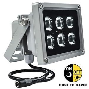 YRXC 12W LED IR Illuminator 90 Degree Wide Angle 6-LEDs IR Infrared Light for Security PI CCTV Cameras