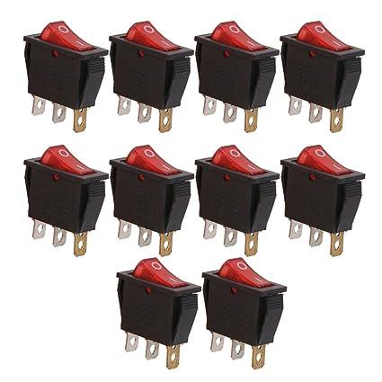 10pcs Interruptor Palanca SPST Luz Roja Encendido//Apagado para Coche Auto Barco
