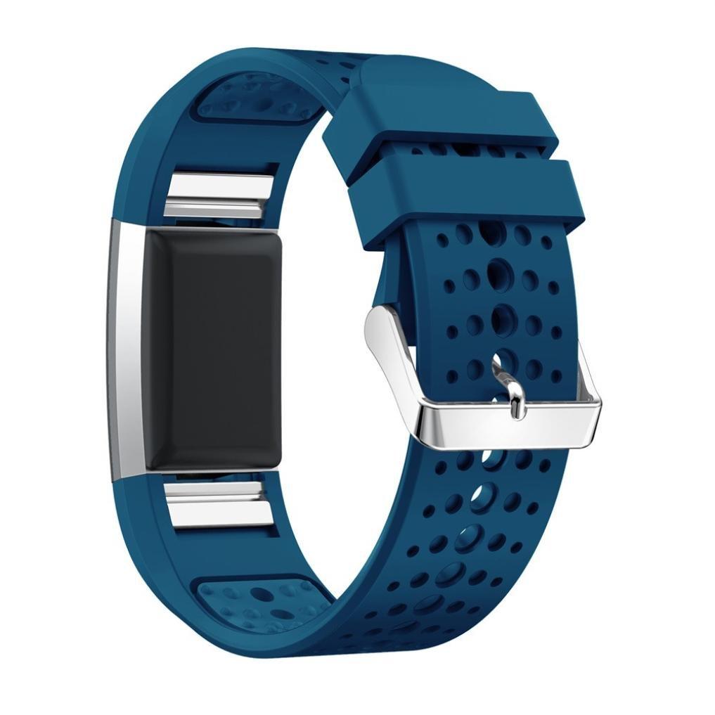 BZLine® Für Fitbit Charge 2 Armband, Leichtes lüften lüften Armband Weiches Silikon-Bügel für Fitbit Charge 2 Unisex Armband zur Herzfrequenz und Fitnessaufzeichnung (Blau)