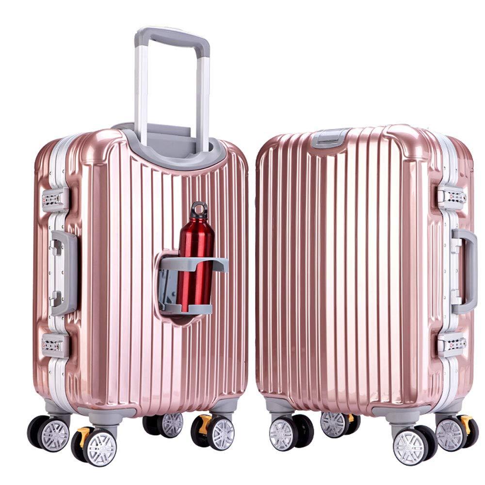 WJ スーツケース トロリーケース - ABS + PC、大径ブレーキホイール、クラムシェルカップホルダー、スタイリッシュなミラー隠しフック大容量スーツケース - 3色、2サイズあり /-/ (色 : Rose gold 1, サイズ さいず : 45*28*71cm) B07NL797Q1 Rose gold 1 45*28*71cm