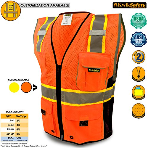 KwikSafety CLASSIC | Class 2 Safari Safety Vest | 360° Hi Viz Reflective ANSI Compliant Work Wear | Hi Vis Breathable Mesh Expandable Pockets | Men & Women Regular to Over Sized Fit | Orange (Hi Viz Orange Safety Vest)
