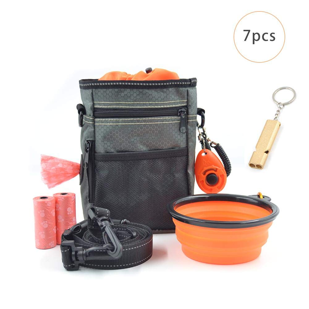 AUOKER Dog Treat Pouch, Portable Waterproof Dog Training Bag Snack Pouch, Durable Pet Dog Treat Container with Belt/Folding Bowl/Whistle/Training Clicker/Garbage Bag by AUOKER