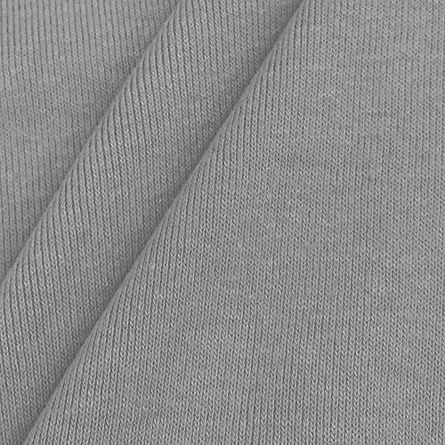 USA Made Premium Quality 100% Cotton 1x1 Rib Knit Fabric By The Yard - 1 Yard - Aluminum