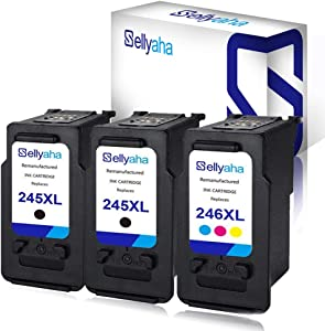 Sellyaha Remanufactured Ink Cartridge Replacement for Canon PG-245XL CL-246XL for Canon PIXMA IP2820 MG2420 MG2520 MG2522 MG2525 MG2555 MG2920 MG2922 MG2924 MG3020 MX490 MX492 Printer