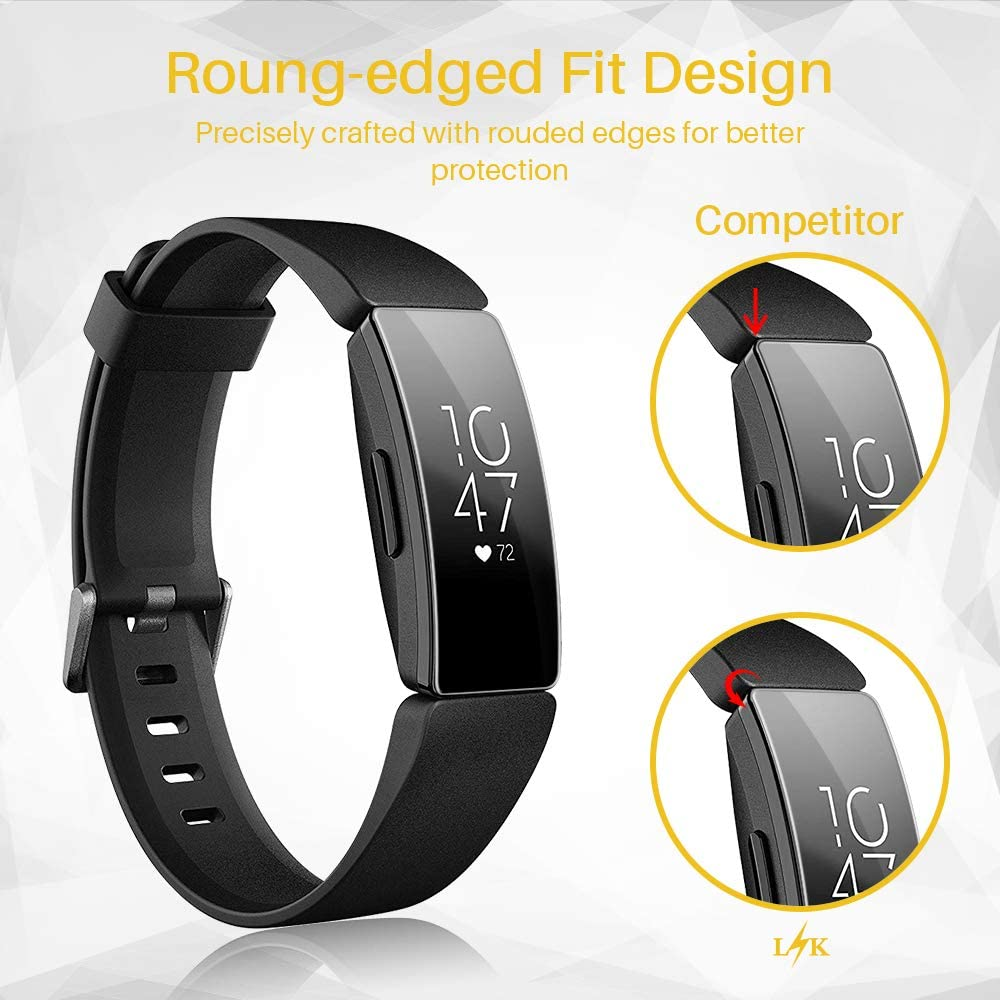 LK 6 Pack Bubble-Free HD Clear Screen Protector for Fitbit Inspire//Inspire HR Smartwatch Flexible Film Max Coverage