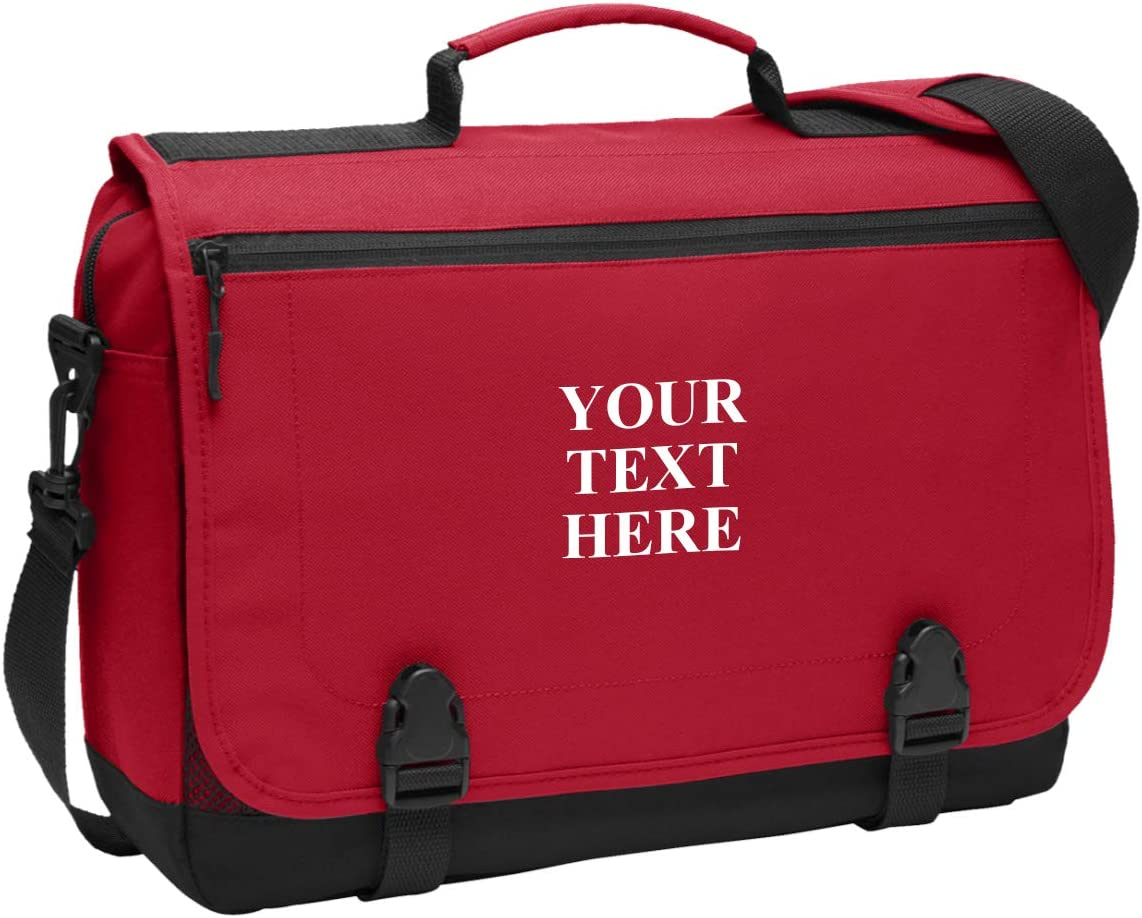 Personalized Messenger Briefcase Protective Laptop Bag Shoulder Bag Custom Add Your Embroidered Logo, Text (Chili Red)