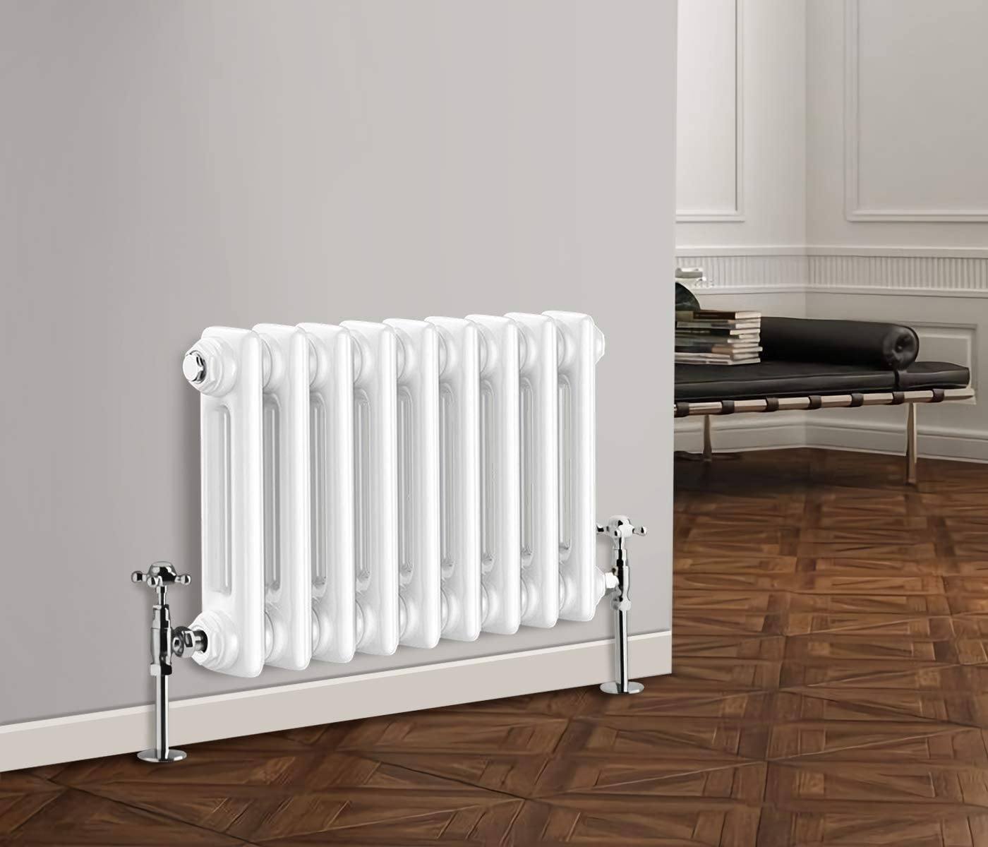 NRG 1800 x 380 mm Traditional White Vertical Cast Iron Radiator Double Panel