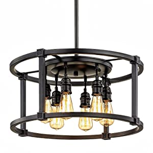 Home Decorators Collection HD-1265-I 6-Light Aged Bronze Dinette Pendant