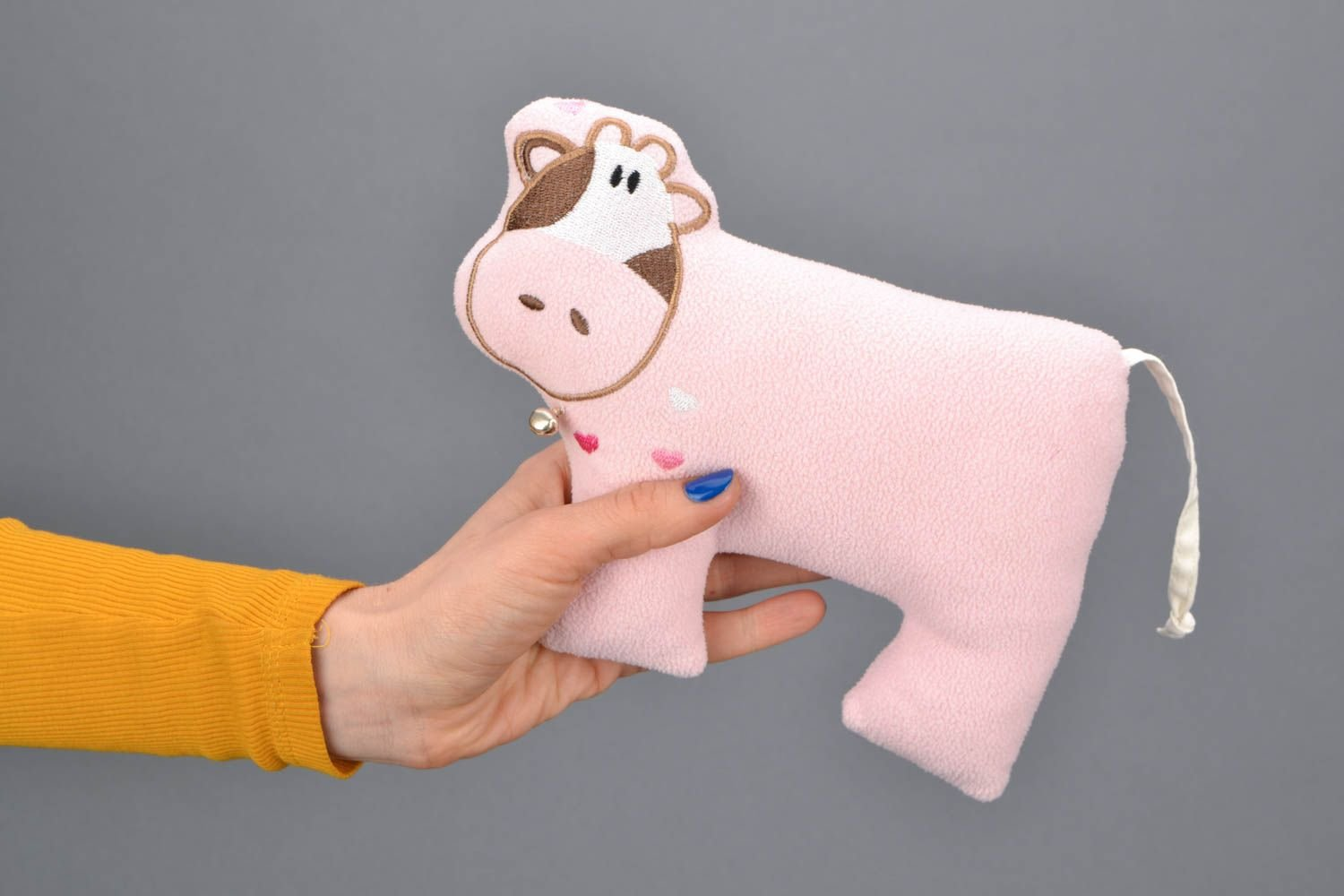 Amazon Com Soft Toy In The Shape Of Pink Cow Toys Games