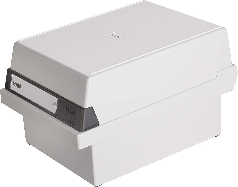 transp. für 400 Karten mit Stahlscharnier HAN Karteibox DIN A6 quer