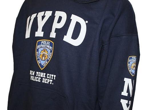 NYPD sudadera con capucha blanco manga impresión sudadera azul marino - Azul -: Amazon.es: Ropa y accesorios