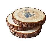 ToBeIT 15 Stücke Holzscheiben ca.8-10cm Holz Scheiben rund - Naturholzscheiben RindenscheibenVerzierung DIY Handwerk Hochzeit Deko (8-10cm)