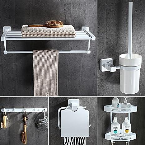Hlluya El Blanco Puro nórdico Toallas de baño Toallas de baño toallero Doble de Acero Inoxidable ...
