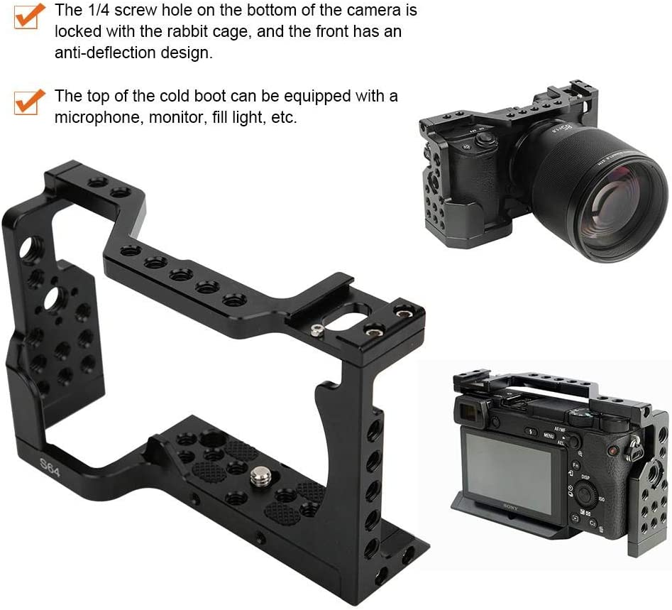 3//8 Inch Threaded Holes,Cold Shoe,4 Anti-wear Rubber Pads,for Sony A6400 Mirrorless Camera Serounder TL-6400 Camera Cage,Metal Camera Covering Cage with 1//4 Inch