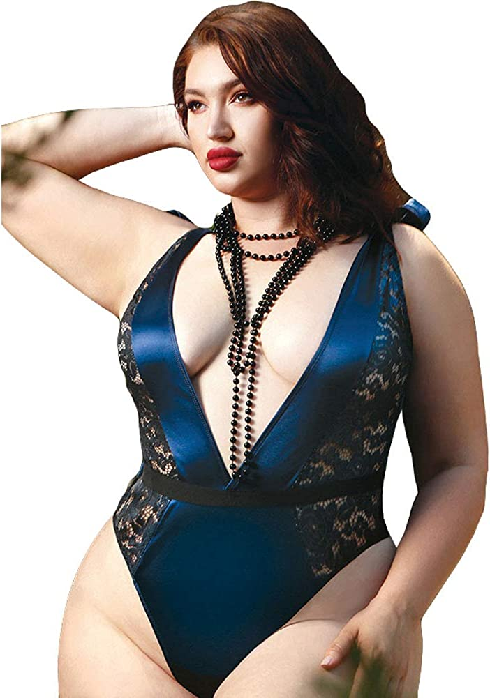 Blue 1X//2X Fantasy Lingerie Frostbite Queens Metallic Lace and Satin Shoulder Tie Teddy