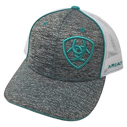 ARIAT Kid's Youth Offset Turquoise Signature Logo Cap, Heather Grey, OS (Signature Cap Logo)