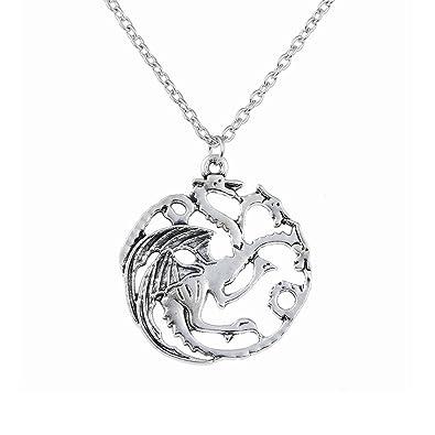 5107201faa64 Lureme juego de tronos inspirado Targaryen plata antigua colgante collar  pendiente (nl005369)