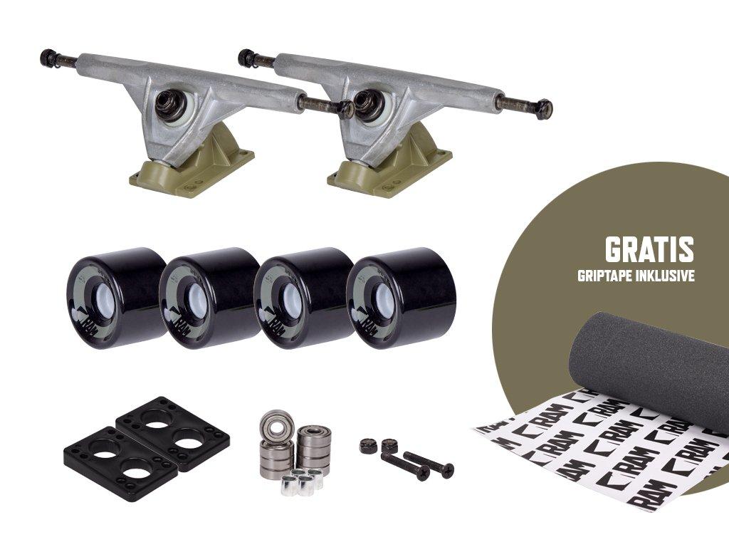 RAM UB-Truck - Set de ejes para longboard, 180 mm, incluye cinta de adherencia, 12332, armee grün: Amazon.es: Deportes y aire libre