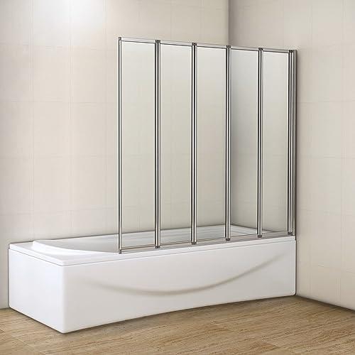 1200x1400mm 5 Fold Folding Shower Bath Screen Glass Panel