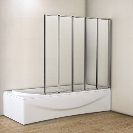 1200x1400mm 5 Fold Folding Shower Bath Screen Glass Panel: Amazon.co ...