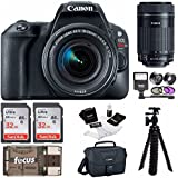 Canon EOS Rebel SL2 SLR Camera w/18-55mm &55-250mm Lenses Bag, 64GB, Filters, Flash & Supreme Bundle