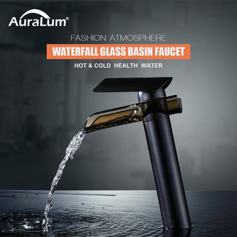 AURALUM Bathroom Glass Sink Faucet Brass Single Handle Single Hole ...