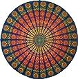 "Handmade Sanganeer Peacock Mandala 72"" Round 100% Cotton Tablecloth Gorgeous"
