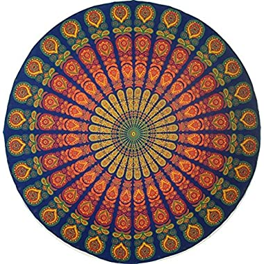 Handmade Sanganeer Peacock Mandala 72  Round 100% Cotton Tablecloth Gorgeous