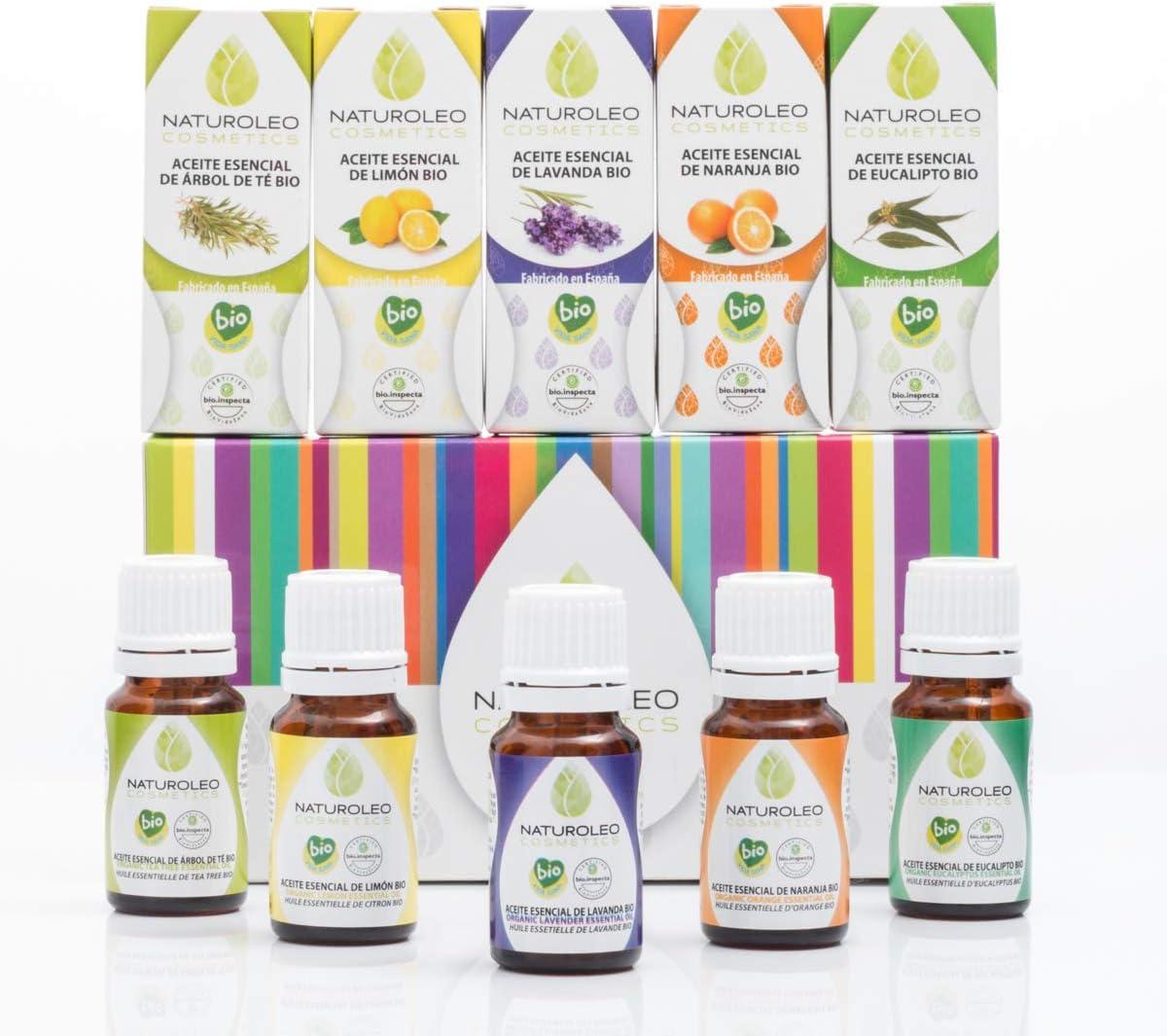 Naturoleo Cosmetics - Set Aromaterapia 5 Aceites Esenciales BIO 100% Puros y Naturales - 5 x 10 ml: Amazon.es: Belleza