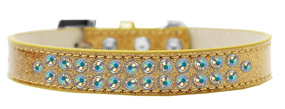 Mirage Pet Products Two Row AB Crystal Gold Ice Cream Dog Collar, Size 20 by Mirage Pet Products