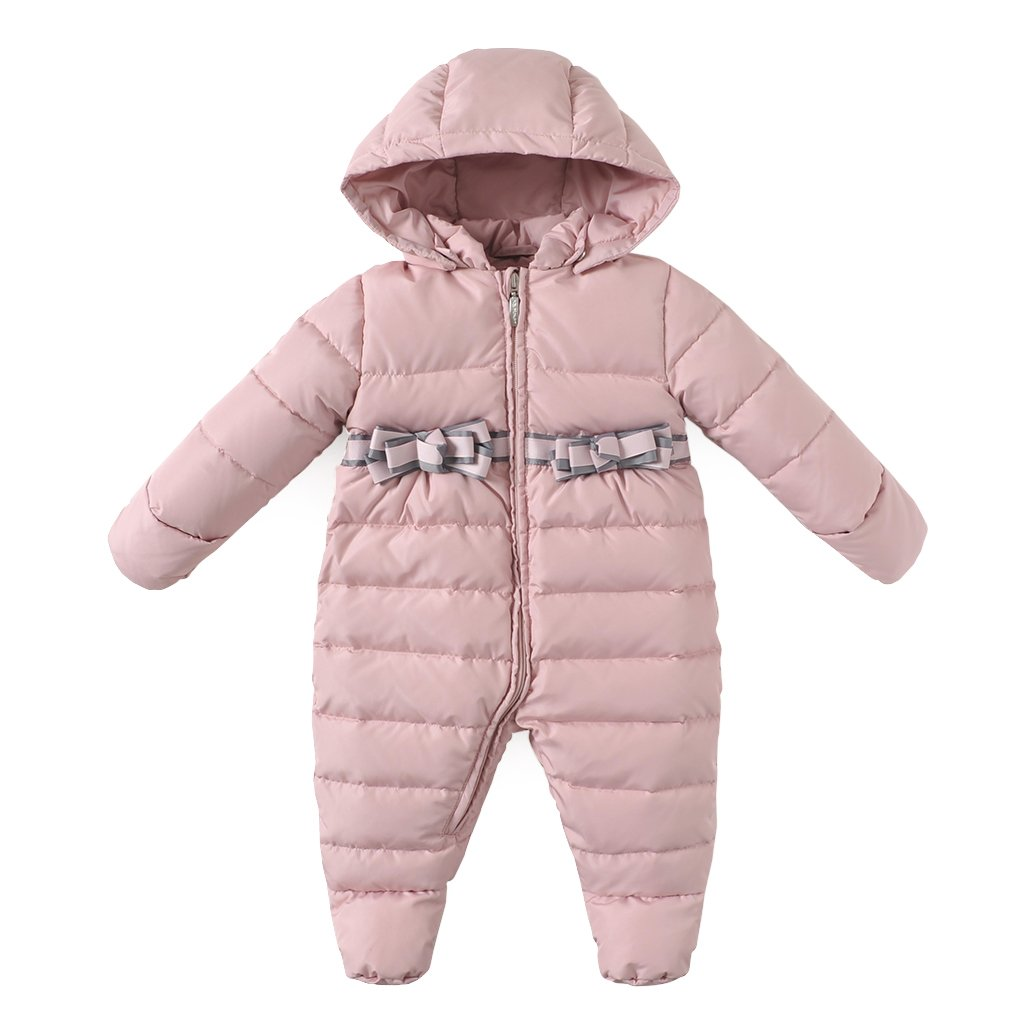 Minizone Baby Girls Hooded Rompers Down Snowsuits Footed Jumpsuit Thick Onesies Winter Outfits