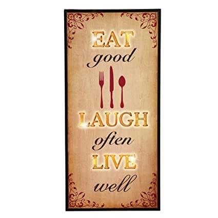 Amazon.com: Lighted Eat Laugh Live Kitchen Wall Art, Brown: Home ...