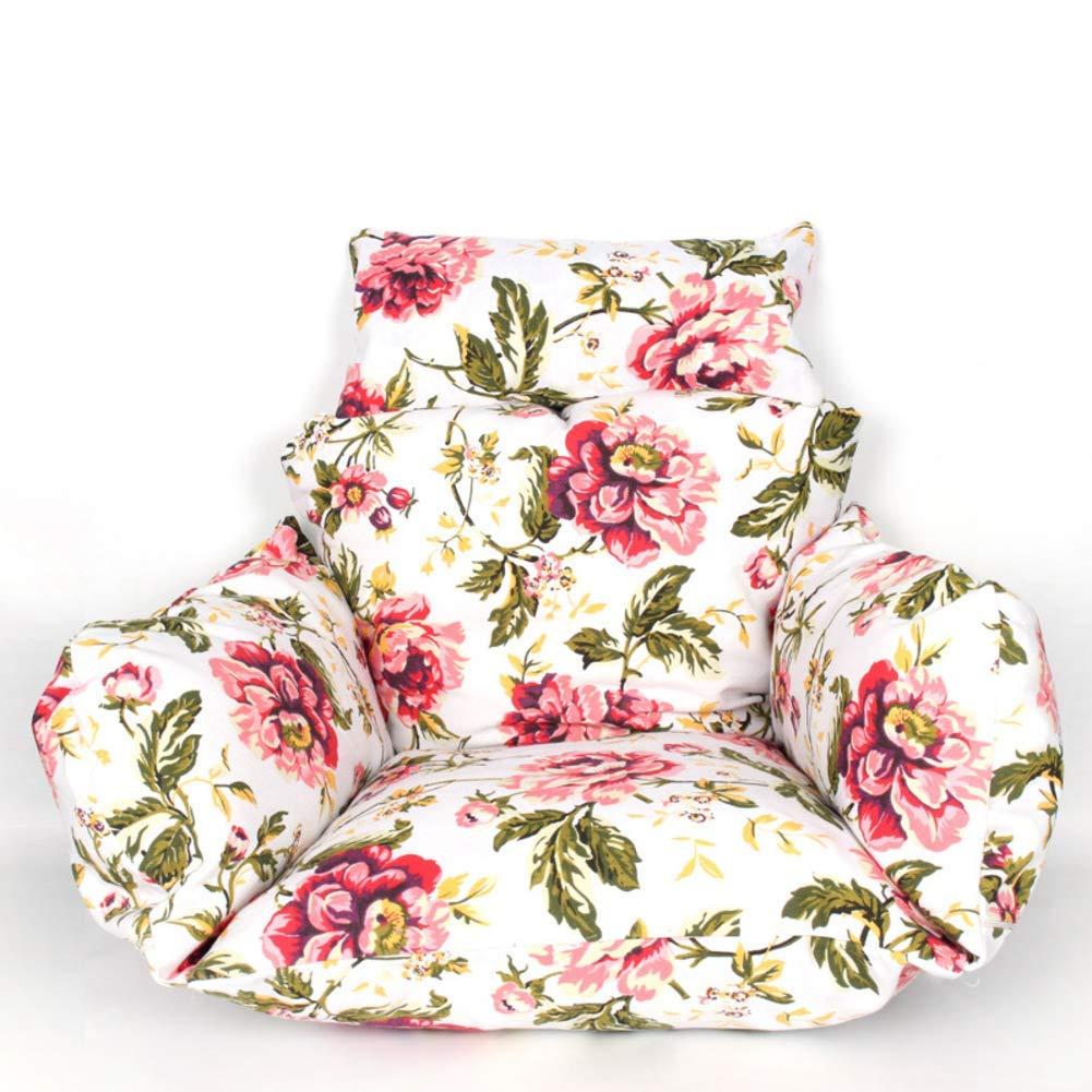ZGYQGOO Gedrucktes Blumenkissen, Schaukelstuhl Wicker Hanging Egg Rattan Chair Hammock Pad, mit Kissen Balkon Patio Garten (nur Kissen) -a 55x70cm (22x28inch)