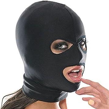 Esclavitud Fetiche Sexy Toy Mask Mascarada Fantasía Elástico Máscara de Cabeza Cosplay Juego Hood para Parejas (Free Size, 3 Hoyos): Amazon.es: Juguetes y juegos