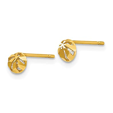 b036eb673 Image Unavailable. Image not available for. Color: 14k Yellow Gold Madi K  Synthetic CZ Diamond Cut Children's Half Round Ball Post Earrings (