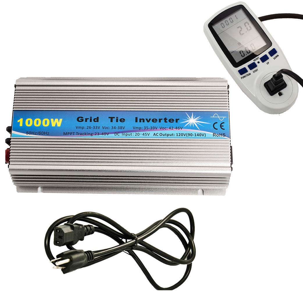 iMeshbean 1KW Solar Grid tie Inverter with Energy Watt Voltage Meter Monitor: 1000 Watts Grid Tie Inverter MPPT Pure Sine Wave for Solar Panel System 22-45V Input to 90V-140V Output Stackable USA by i-mesh-bean