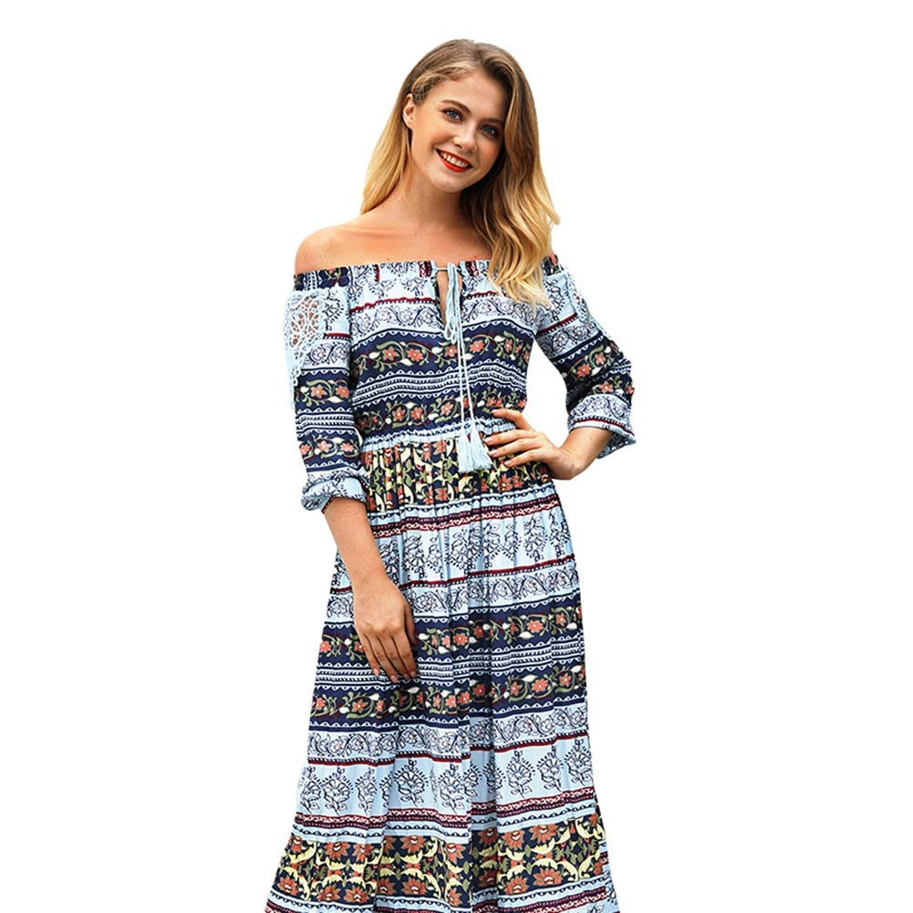 bluee Beach Dress, Sexy V Neck Strapless Boho Floral Seaside Holiday Printed Long Dress