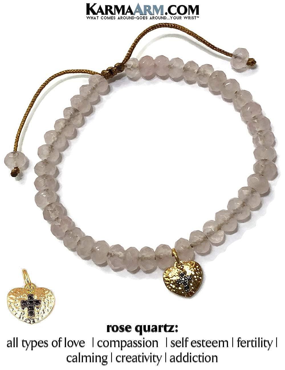 Natural Rose Quartz Meditation Spiritual Pull Tie Mantra Reiki Healing Energy Boho Chakra Wrap Yoga Jewelry /& Gifts KarmaArm Heart Charm Bracelet Cross in Heart