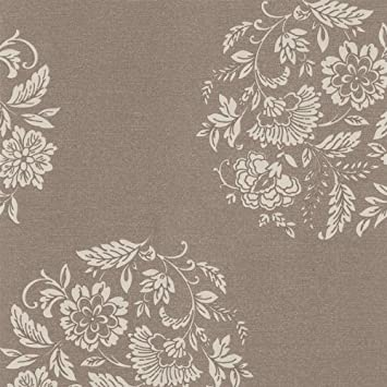 Rasch Textil Vlies Tapete Platinum Braun Beige Glänzend Floral Blumen