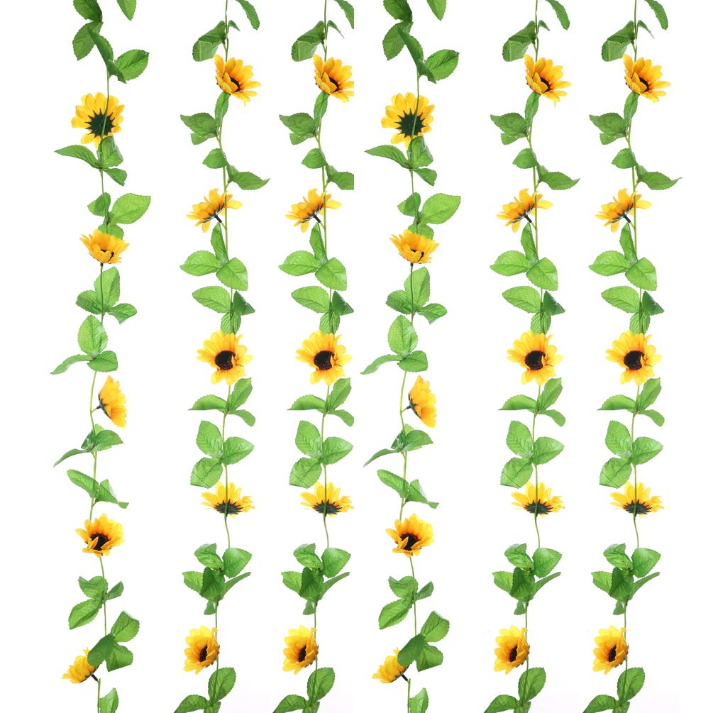 Sunrisee 2Pcs Artificial Sunflower Garland Silk Fake Flower Ivy Vines Artificial Flowers for Home Hotel Office Garden Wedding Party Outside Decoration, 8.5FT