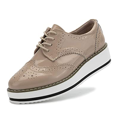 Oxford Shoes for Women Platform Dress Shoes Lace Up Wingtip Brogue Sneakers | Oxfords