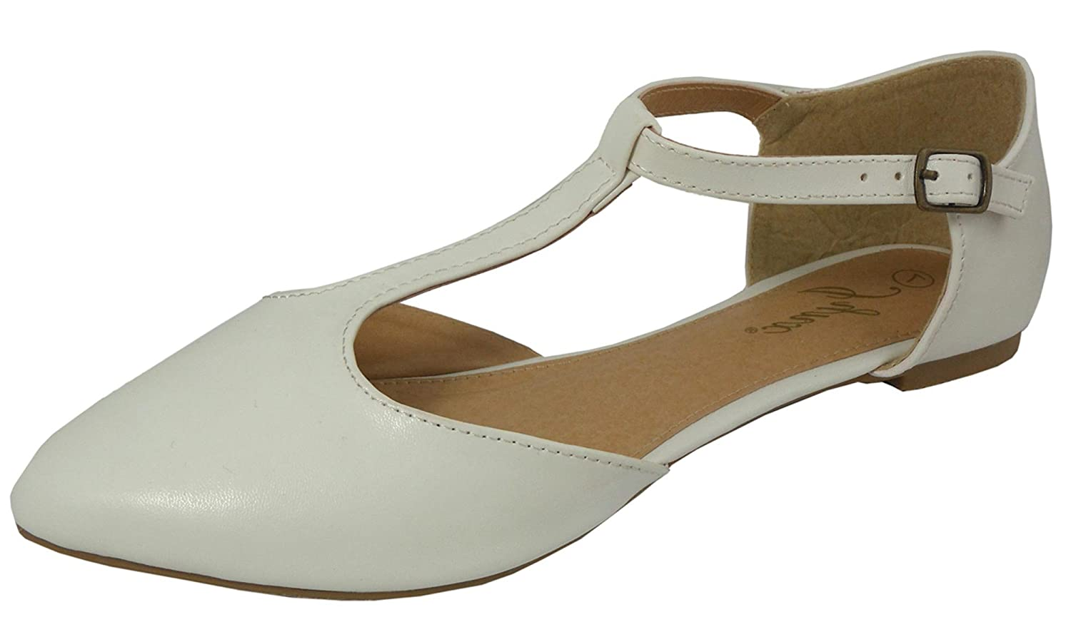Retro Vintage Flats and Low Heel Shoes Jynx Womens Mary Jane T-Strap Pointed Toe Ballet Flat $21.25 AT vintagedancer.com