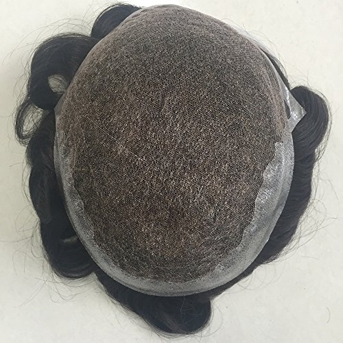 Mens Toupee Foryang Lace With Skin Human Hair Pieces Toupee Hair Replacement System For Men 8x10 Off Black 1B by Foryang (Image #2)