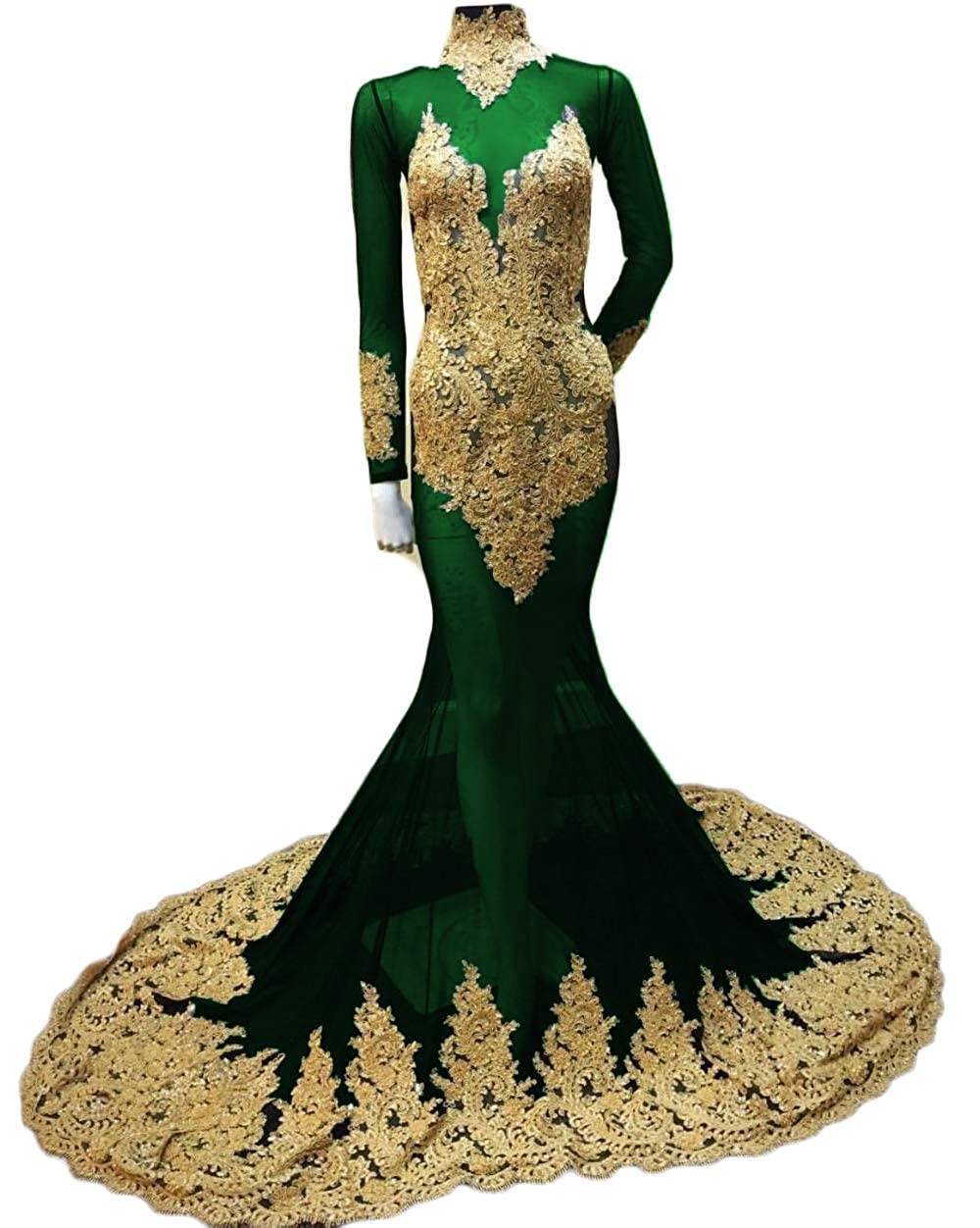 Dark Green SDRESS gold Lace Embroidery Evening Dress with Sleeves Sheer Mermaid Prom Dress