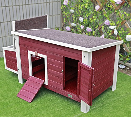 Petsfit Weatherproof Outdoor Chicken Coop with Nesting Box, Bottom Can be Removed for Easy Cleaning, 1-Year (Chicken House)