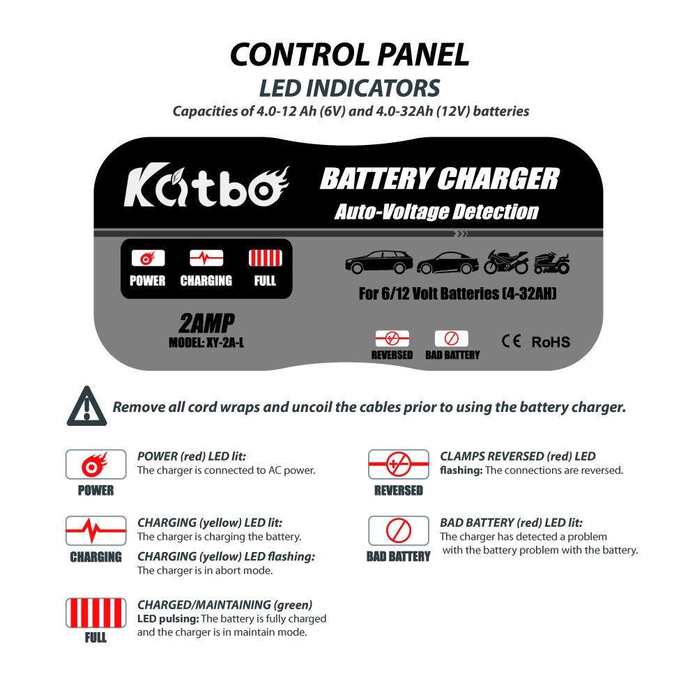 Katbo 2amp Smart Battery Charger Maintainer 6v 12v 2a Lead Acid Car With Short Circuit Protection Charging Selectivity Technology Sealed Trickle